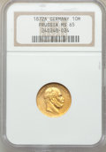 German States: Prussia. Wilhelm I gold 10 Mark 1872-A MS65 NGC