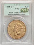 1855-S $20 XF40 PCGS. Gold CAC. PCGS Population: (106/543). NGC Census: (69/969). CDN: $1,684.46.Whsle. Bid for NGC/PCGS...