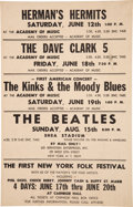 Music Memorabilia:Posters, Beatles 1965 Shea Stadium, NY Cardboard Concert Poster, Full of British Invasion Stars....
