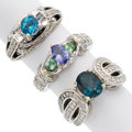 Estate Jewelry:Rings, Multi-Stone, Diamond, White Gold Rings. ... (Total: 3 Items)