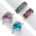 Estate Jewelry:Rings, Amethyst, Topaz, Diamond Gold Rings. ... (Total: 4 Items)