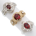 Estate Jewelry:Rings, Spinel, Diamond, White Gold Rings. ... (Total: 3 Items)