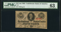 T63 50 Cents 1863 PF-8 Cr. 487 PMG Choice Uncirculated 63