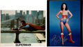 Movie/TV Memorabilia:Autographs and Signed Items, Christopher Reeve Signed Superman Photo and Linda Carter Signed and Inscribed Wonder Woman Photo....
