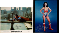 Christopher Reeve Signed Superman Photo and Linda Carter Signed and Inscribed Wonder Woman Photo
