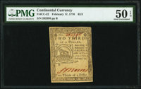 Continental Currency February 17, 1776 $2/3 PMG About Uncirculated 50 EPQ