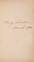 Autographs:U.S. Presidents, Mary Todd Lincoln Signed Book: The Complete Poems of Jean Ingelow....