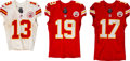Football Collectibles:Uniforms, 2014-16 Jeremy Maclin, Chris Conley and De'Anthony Thomas Game Worn & Unwashed Kansas City Chiefs Jerseys & Pants Lot of 4.... (Total: 4 items)
