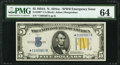 Fr. 2307* $5 1934A North Africa Silver Certificate. PMG Choice Uncirculated 64