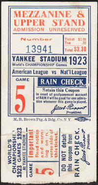 1923 World Series Game Five Ticket Stub - First New York Yankees World Series!