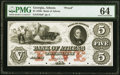 Athens, GA- Bank of Athens $5 18__ G6a Proof PMG Choice Uncirculated 64