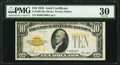 Small Size:Gold Certificates, B-A Block Fr. 2400 $10 1928 Gold Certificate. PMG Very Fine 30.. ...