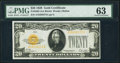 Small Size:Gold Certificates, Fr. 2402 $20 1928 Gold Certificate. PMG Choice Uncirculated 63.. ...