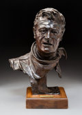 Sculpture, Gallagher Rule (American, b. 1930). John Wayne, 1979. Bronze with brown patina. 14-1/2 inches (36.8 cm) high on a 2 inch...