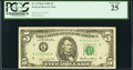 Solid 1 Serial Fr. 1978-K $5 1985 Federal Reserve Note. PCGS Very Fine 25
