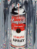 Paintings, Mr. Brainwash (b. 1966). Campbell's Tomato Spray, 2009. Stencil, acrylic, and spray paint on canvas. 48 x 38 inches (121...