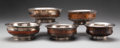 Silver & Vertu, A Group of Five Tibetan Silver and Burlwood Bowls. Marks to one: Inset Yuan Shikai Dollar Coin (1914). 2-1/4 x 5-3/4 inches ... (Total: 5 Items)