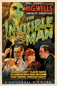 "The Invisible Man (Universal, 1933). Very Fine on Linen. One Sheet (27"" X 41"") Style B. Karoly Grosz Artwork..."