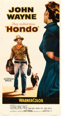 "Movie Posters:Western, Hondo (Warner Bros., 1953). Fine/Very Fine on Linen. Three Sheet (41"" X 78"").. ..."