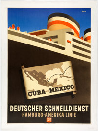 "Cruise to Cuba and Mexico (Hamburg-Amerika Linie, c. 1950s). Silkscreen Travel Poster (23.75"" x 33.25""). Artwo..."