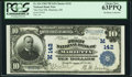 National Bank Notes:Ohio, Marietta, OH - $10 1902 Plain Back Fr. 624 The First National Bank Ch. # (M)142 PCGS Choice New 63PPQ.. ...