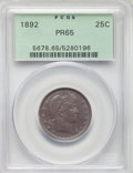 Proof Barber Quarters: , 1892 25C PR65 PCGS. PCGS Population: (32/45). NGC Census: (36/67). CDN: $950 Whsle. Bid for NGC/PCGS PR65. Mintage 1,245. ...