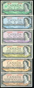 World Currency, Canada Bank of Canada $5; $10; $20; $50; $100 1954 BC-39b; BC-40b; BC-41b; BC-42b; BC-43c; $1 1867-1967 BC-45a Extremely F... (Total: 6 notes)
