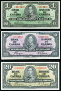 World Currency, Canada Bank of Canada $1; $10; $20 1937 BC-21c; BC-24c; BC-25c Very Fine-Extremely Fine or Better.. ... (Total: 3 notes)