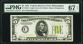 Fr. 1955-C $5 1934 Light Green Seal Federal Reserve Note. PMG Superb Gem Unc 67 EPQ