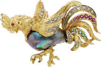 Multi-Stone Diamond, Freshwater Cultured Pearl, Gold Brooch, Van Cleef & Arpels