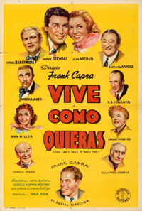 """You Can't Take It with You (Columbia, 1939). Folded, Fine/Very Fine. Argentinean One Sheet (29"""" X 43""""). From t..."""