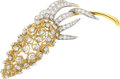 Estate Jewelry:Brooches - Pins, Diamond, Platinum, Gold Brooch The articulated...