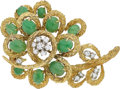 Estate Jewelry:Brooches - Pins, Jadeite Jade, Diamond, Gold Clip-Brooch The br...