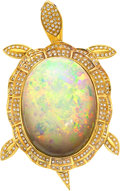 Estate Jewelry:Brooches - Pins, Opal, Diamond, Ruby, Gold Pendant-Brooch The a...