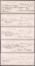 Autographs:Checks, Ted Williams Signed Checks, Lot of 5....