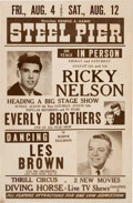 Music Memorabilia:Posters, Ricky Nelson / The Everly Bros. 1961 Atlantic City, New Jersey Concert Poster....