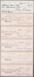 Autographs:Checks, Ted Williams Signed Checks, Lot of 6....