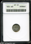 Three Cent Silver: , 1852 XF45 ANACS. ...