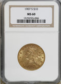 Liberty Eagles: , 1907-S $10 MS60 NGC. NGC Census: (26/127). PCGS Population(13/100). Mintage: 210,500. Numismedia Wsl. Price for NGC/PCGS c...