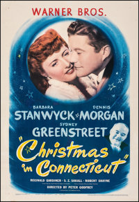 """Christmas in Connecticut (Warner Bros., 1945). Fine+ on Linen. One Sheet (27"""" X 41""""). Comedy"""