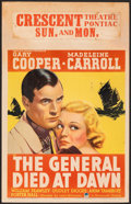 "Movie Posters:Adventure, The General Died at Dawn (Paramount, 1936). Fine+ on Cardboard. Window Card (14"" X 22""). Adventure.. ..."