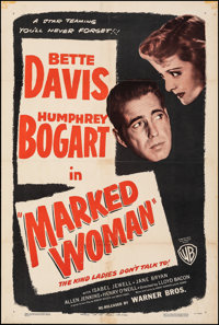 "Marked Woman (Warner Bros., R-1947). Fine on Linen. One Sheet (27.25"" X 40.75""). Crime"