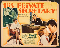 "His Private Secretary (Showmens Pictures, 1933). Rolled, Very Good/Fine. Half Sheet (22"" X 28""). Comedy"