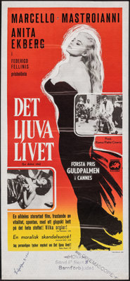 "La Dolce Vita (Europa, 1960). Rolled, Very Fine-. Swedish Insert (12.5"" X 27.5""). Foreign"
