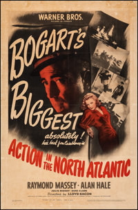 "Action in the North Atlantic (Warner Bros., 1943). Good on Chartex. One Sheet (27"" X 41""). War"