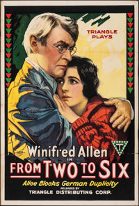 """From Two to Six (Triangle, 1918). Folded, Very Fine-. One Sheet (27.5"""" X 41""""). Drama"""
