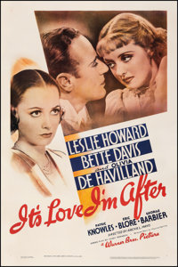 "It's Love I'm After (Warner Bros., 1937). Very Good/Fine on Linen. One Sheet (27"" X 41""). Comedy"