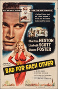"""Movie Posters:Drama, Bad for Each Other & Other Lot (Columbia, 1953). Folded, Fine/Very Fine. One Sheets (2) (27"""" X 41""""). Drama.. ... (Total: 2 Items)"""