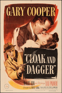 "Cloak and Dagger (Warner Bros., 1946). Folded, Fine+. One Sheet (27"" X 41""). Thriller"