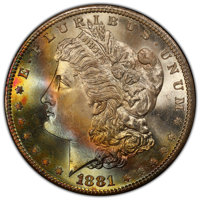 1881-S $1 MS67+ PCGS. PCGS Population: (2575/185 and 325/21+). NGC Census: (4282/293 and 137/11+). CDN: $485 Whsle. Bid...